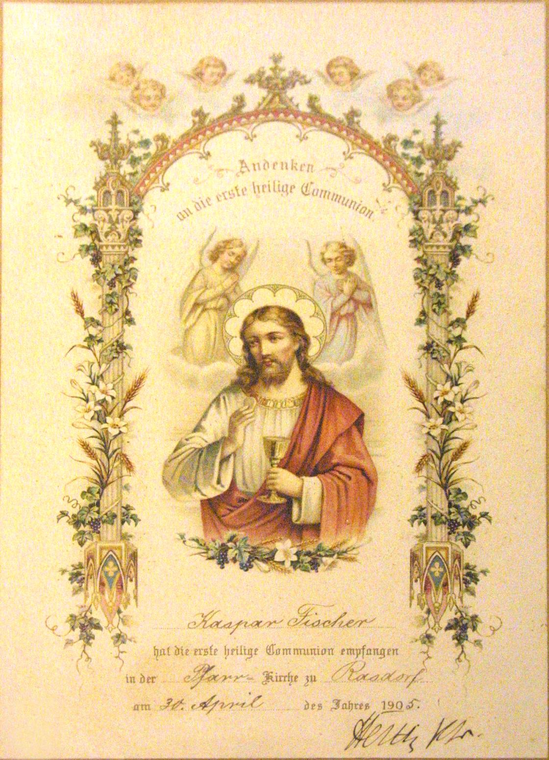 Erste Heilige Kommunion Schreibweise